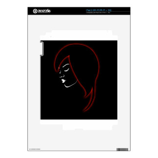 A beautiful girl in a red glowing hair decal for the iPad 2