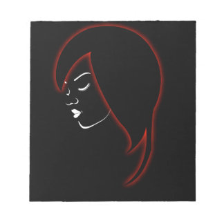 A beautiful girl in a red glowing hair notepad