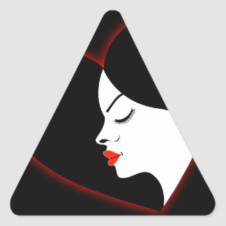 A beautiful girl in a red glowing hair triangle sticker