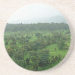 A beautiful green countryside beverage coaster