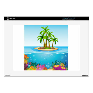 """A beautiful island in the middle of the sea 15"""" laptop decal"""
