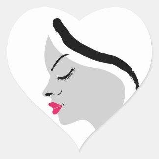 a beautiful lady heart sticker