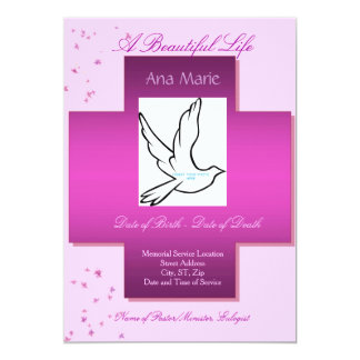 "A Beautiful Life Funeral Invitation/Program 5"" X 7"" Invitation Card"