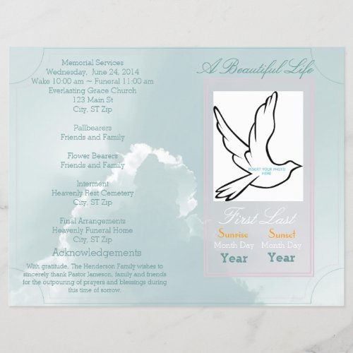 A Beautiful Life Funeral Program_single fold