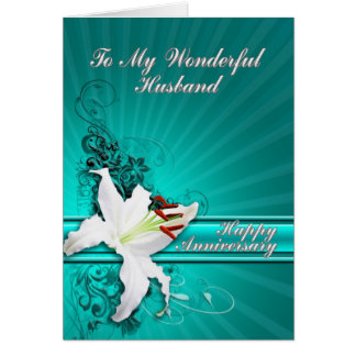 A beautiful lily anniversary card for a husband