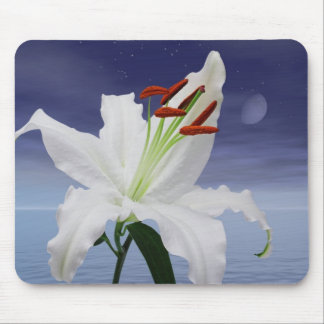 A beautiful lily in the moonlight mouse pad