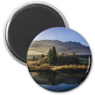 A beautiful marshes landscape 6 cm round magnet