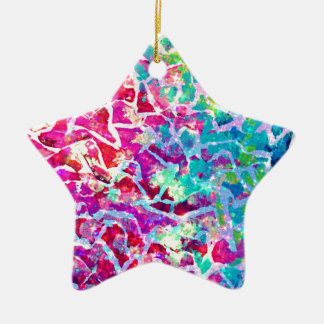 A BEAUTIFUL MESS 2 Pink Turquoise Blue Abstract Ceramic Ornament