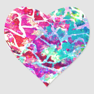 A BEAUTIFUL MESS 2 Pink Turquoise Blue Abstract Heart Sticker