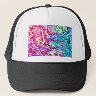 A BEAUTIFUL MESS 2 Pink Turquoise Blue Abstract Trucker Hat