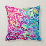 A BEAUTIFUL MESS Pink Turquoise Ombre Painting Pillow