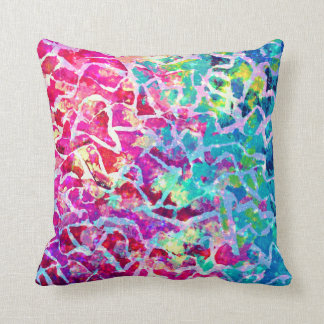 A BEAUTIFUL MESS Pink Turquoise Ombre Painting Throw Pillows