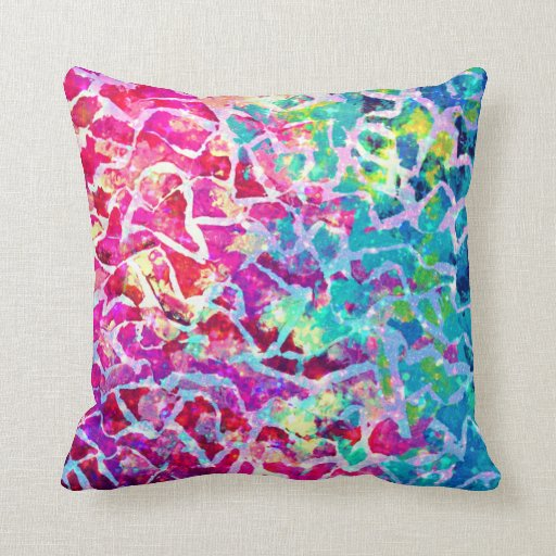 a beautiful mess pink turquoise ombre painting throw pillow