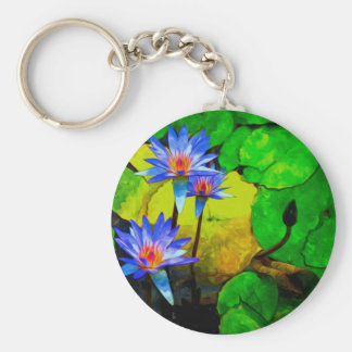 A Beautiful Purple Waterlily In Pond Keychains