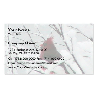 A Beautiful Red Cardinal In The Bushes Covered Wit Business Cards