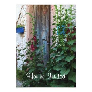 "A beautiful rustic old blue door in CRETE, Greece 5"" X 7"" Invitation Card"