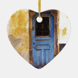 A beautiful rustic old blue door in CRETE, Greece Double-Sided Heart Ceramic Christmas Ornament