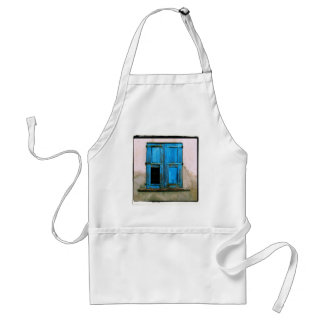 A beautiful rustic old blue window shutter Greece Adult Apron