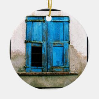 A beautiful rustic old blue window shutter Greece Ceramic Ornament