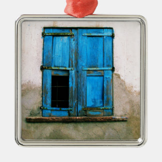 A beautiful rustic old blue window shutter Greece Metal Ornament