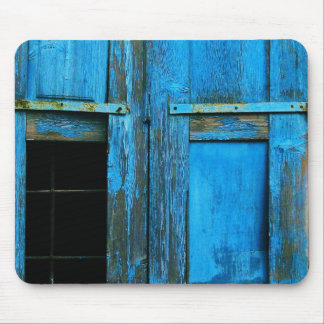 A beautiful rustic old blue window shutter Greece Mouse Pad
