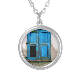 A beautiful rustic old blue window shutter Greece Necklace
