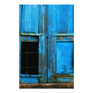 A beautiful rustic old blue window shutter Greece Stationery