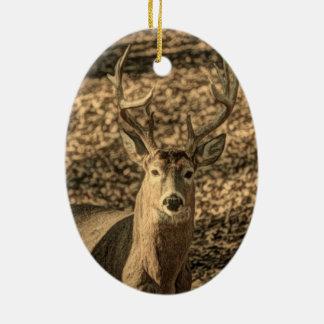 A beautiful rustic whitetail deer ceramic ornament