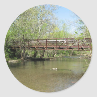 A Beautiful View of the River Classic Round Sticker