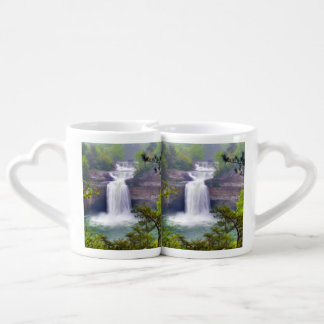 A Beautiful Waterfall In The Deep Forests Of North Couples Coffee Mug
