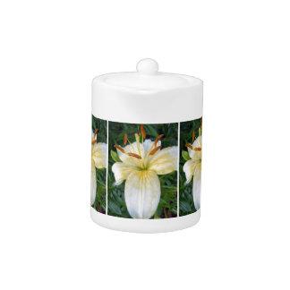 A Beautiful White Lily Teapot