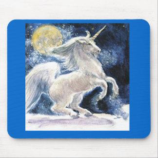 a beautiful white unicoen mouse pad