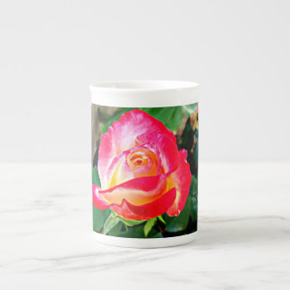 A Beautiful Yellow and Pink Rose Tea Cup