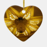 A beautiful yellow chandelier christmas ornament