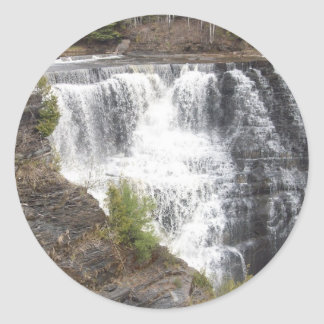 A beautifull river rushing strong classic round sticker