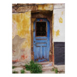 A beautifuly rustic old blue door in CRETE, Greece Print