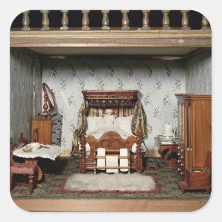 A bedroom in 'Mrs Bryant's Pleasure', c.1860 Square Sticker