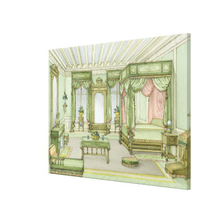 A Bedroom interior in Henri II style (colour litho Canvas Print