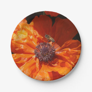 A Bee And A Poppy Paper Plate