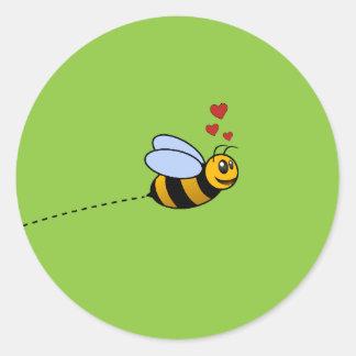 A Bee in Love Classic Round Sticker