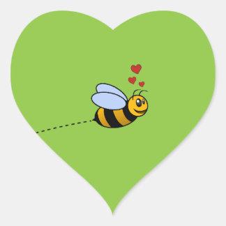 A Bee in Love Heart Sticker