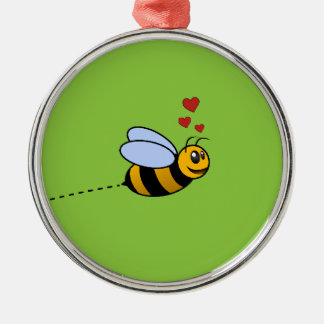 A Bee in Love Metal Ornament