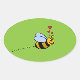 A Bee in Love Oval Sticker