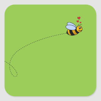 A Bee in Love Square Sticker