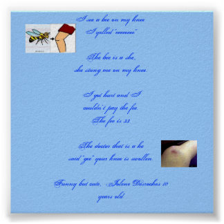 A Bee on my Knee Poster