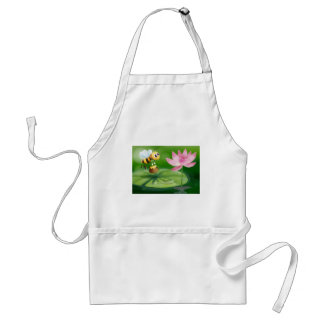 A bee with a pot of honey above a waterlily aprons