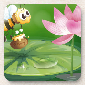 A bee with a pot of honey above a waterlily beverage coaster