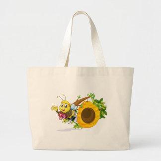 A bee with flowers near the beehive jumbo tote bag