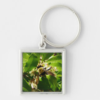 A Bees Texture Silver-Colored Square Keychain