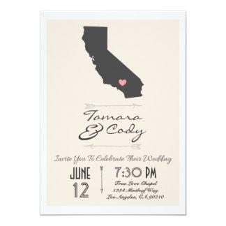 A Beige Colored California Wedding Invitation